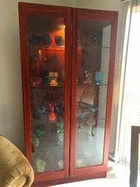 Teal wood glass front display case