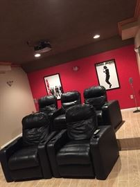 High end theater black chairs  Fully Recliner chairs  Leather  In brand new condition  Used just a few times  All in working condition