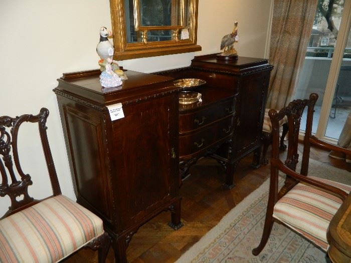 Antique English sideboard with detailing
