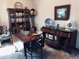 Vintage Dining room set if China cabinet, sideboard, Table with chairs.  Platter removed from sale