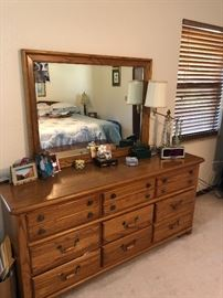 Triple  Oak dresser + mirror
