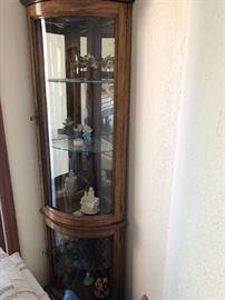 Curved glass corner curio cabinet