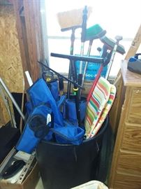 folding chairs & cleaning tools