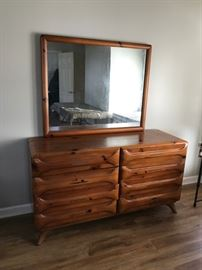 #32 pine crafted 8 drawer dresser w mirror 58x19x31 mirr 43x35  $150.00