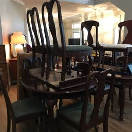 #2 ashley furniture cherry dining table w 6 chairs and leaf 55-73x42x30  $275.00