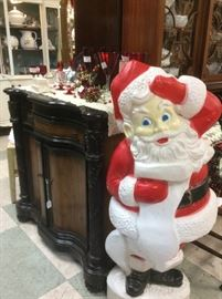 Lots of holiday blow molds...unique bar cabinet...custom painted China cabinets