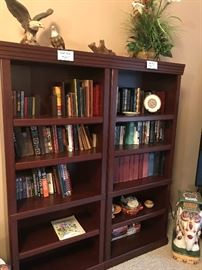 Book case and vintage books