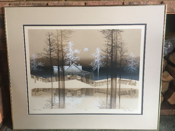 "Artist Virgil Thrasher- signed and numbered ""Cabin Creek"""