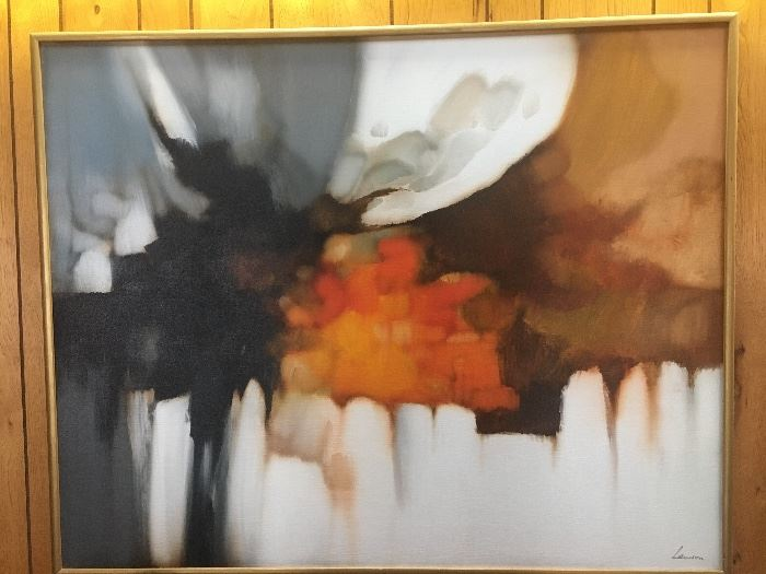 "Robert Lawson mid century modern abstract oil on canvas , H 40"", W 50"", D 1.5""."