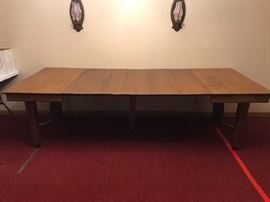 Huge oak gothic banquet table - 5 leaves, on castors, absolutely stunning, WOULD MAKE GREAT FARM TABLE OR DISPLAY TABLE IN SHOP