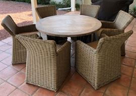 """Paddy O' Furniture 54"""" Round Table w 6 Wicker Chairs and Cushions"""