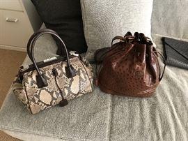 Prada snakeskin handbag and Gucci ostrich handbag.