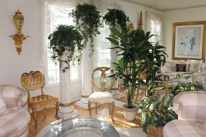 gold vintage chairs, columns