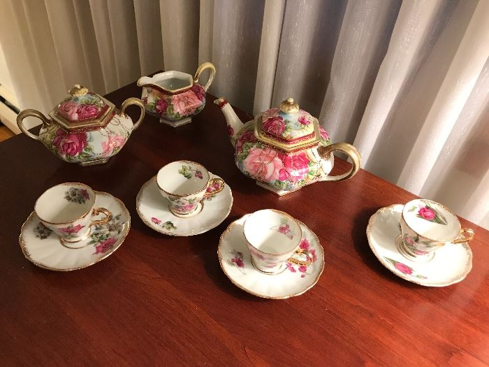 Hand painted Nippon Teapot, creamer and sugar, English Demi tasse cups and saucers