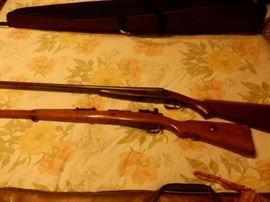 Remington Double Barrel 12 GA.  Shotgun & 1917 British Rifle (might be a 303), Both guns are in excellent shape.