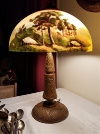 1920's reverse painted lamp by Phoenix Lamp Co.
