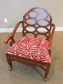 Red Zebra Print Upholstered Wood Arm Chair