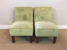 Green Armless Chairs with Nailhead Trim