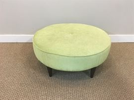Round Green Button Tufted Ottoman with Tapered Leg