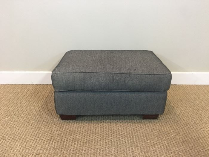 Grey Herringbone Upholstered Rectangular Ottoman