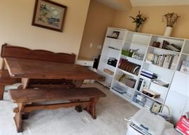Solid wood Amish Table with bench seating.  Tall White storage bookcases