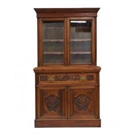 English carved butler secretary/bookcase