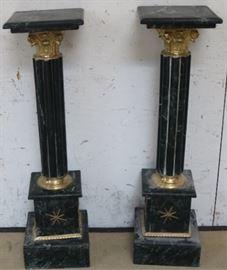 Pair marble & brass pedestals