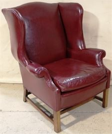 Vintage leather wingback chair