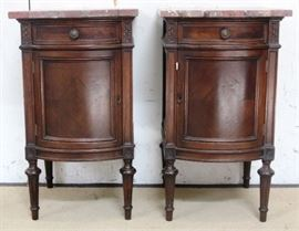 Matching pair marble top bedside stands