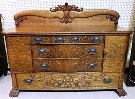 Tiger oak vintage sideboard