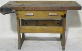 Early primitive table w/ vise