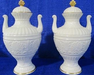 Lenox pair covered urns