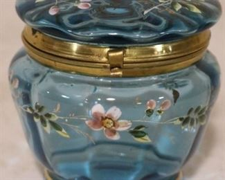 Enamel painted glass dresser box