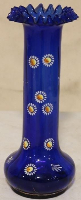 Enamel painted blue vase