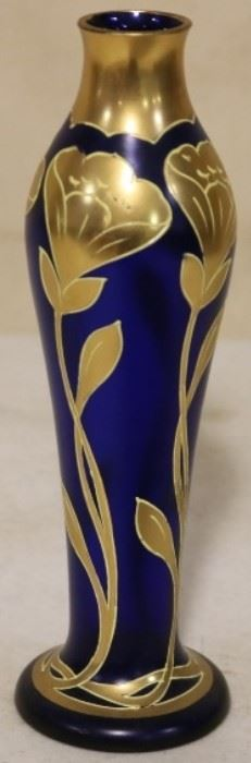 Gold overlay art glass vase
