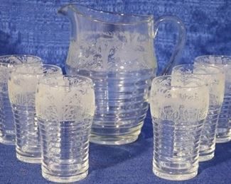 Paden City etched Black Forest water set