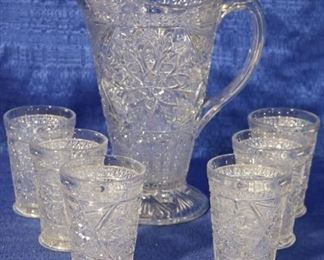 Pressed glass water set