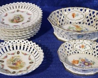 Group of reticulated porcelain dishes