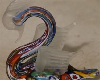 Millefiori glass swan