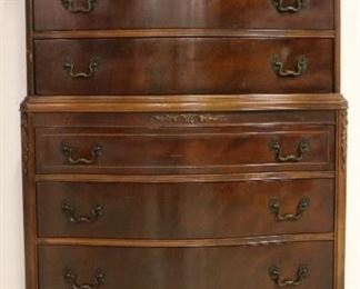 Chippendale claw foot chest on chest