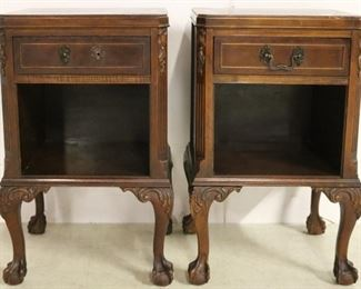 Pair Chippendale bedside stands