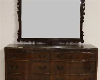 Chippendale dresser w/ carved mirror