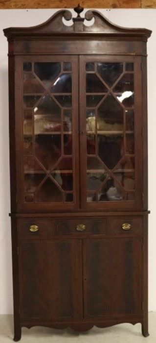 Two piece early corner cabinet
