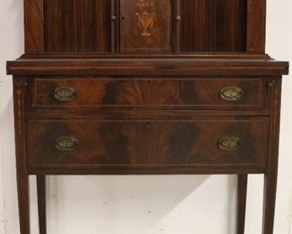 Tambour ladies desk w/ inlay & eagle brasses