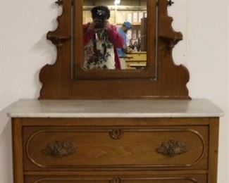 Victorian marble top chest w/ mirror