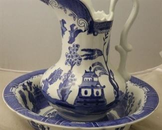 Blue and white wash bowl and pitcher