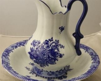 White and blue wash bowl and pitcher