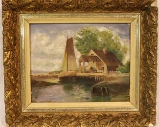 Oil on canvas small painting in gilt frame