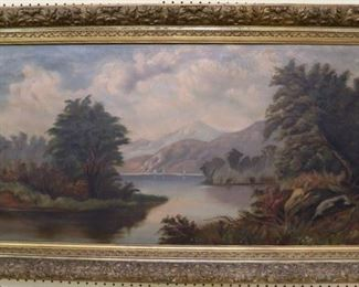 Large oil on canvas river scene