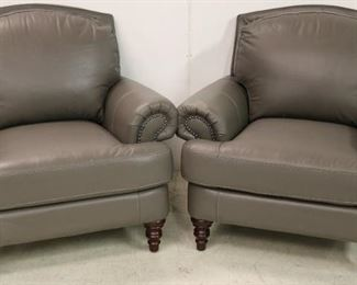 Gray Leather Lazzaro chairs